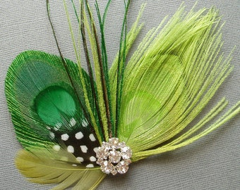 Peacock Feather Hair Clip Bridal Fascinator wedding comb hairpiece accessories clips combs - Lime Green