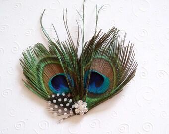 Peacock Hair Piece Bridesmaid FEATHER HAIR CLIP wedding fasinator accessory with Rhinestone Jewel