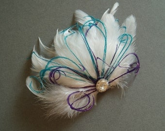 Wedding Feather Hair Accessory, Feather Fascinator Bridal Hair PIece Bride White Feather Hair clip - TEAL PURPLE bridesmaid accessories