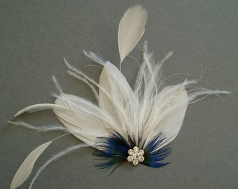 Fascinator Feather Bridal Hair Clip Wedding Hair Accessories bridesmaid gift shower facinator WHITE BLUE
