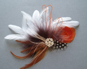 Orange Peacock Feather Hair Clip Bridal Fascinator with Rhinestone Jewel comb - Ready to Ship