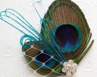 Mini Wedding Peacock Feather Hair Clip BRIDAL HAIRPIECE flower girl bridesmaid Blue Turquoise Teal