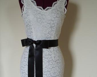 Wedding Sash Bridal Sashes Dress Ribbon Belt Plain CHARCOAL bow bride - SWISS SATIN 2 inch width, Ready to Ship