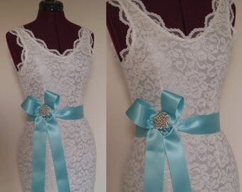 AQUA Blue Wedding Sash Plain Bridal Dress Belt Bridesmaid Sea Glass Pool ribbon simple - SWISS SATIN 2 inch width