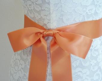 Bridesmaid Sash, Bridal Wedding Dress Sash Plain APRICOT TANGERINE PEACH Coral bow belt orange - Swiss Satin 2 inch - Wedding Dress Sashes