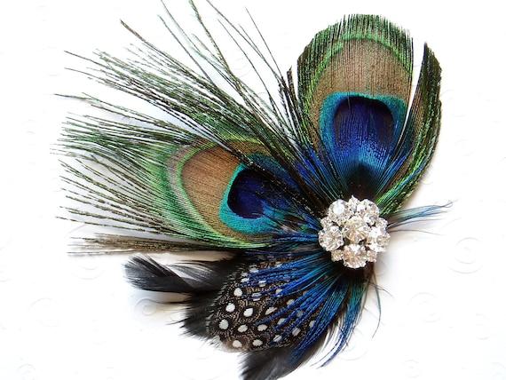 Blue Peacock Feather Hair Clip WEDDING Hair Piece Bridal Accessories Fascinator bridesmaid gift Bridal Shower