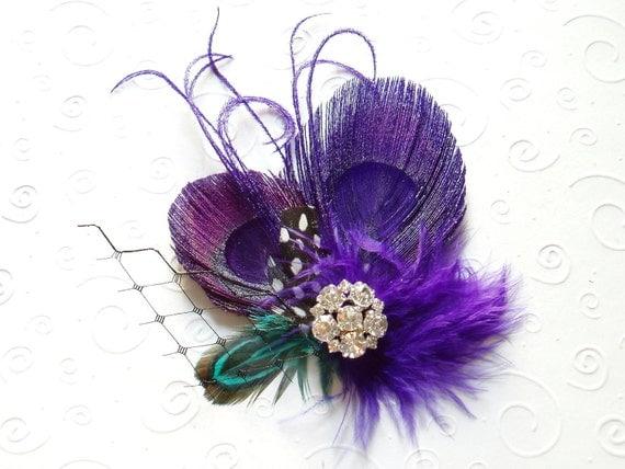 Purple Peacock Feather Hair Clip Bridal Fascinator, Bride Wedding Hair Piece, bridesmaid gift