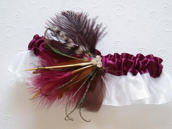Burgundy Feather Garter Set WEDDING ACCESSORIES Rhinestone bridal garder red plum wine- Ready to Ship