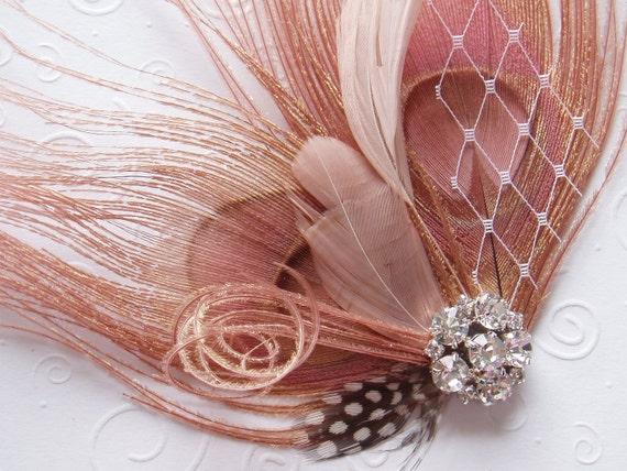 Peacock Feather Hair Clip WEDDING FASCINATOR bridal accessory Antique Pink facinator bride hair piece