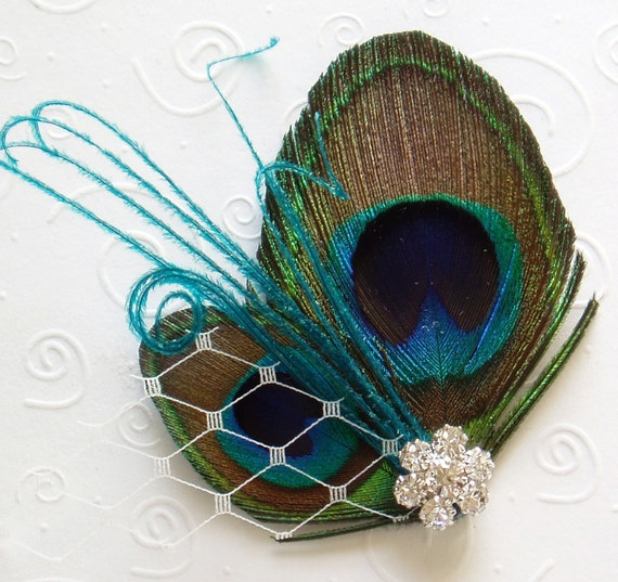 Mini Wedding Peacock Feather Hair Clip BRIDAL HAIRPIECE flower girl bridesmaid Blue Turquoise Teal
