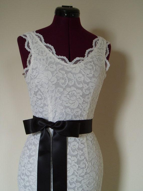 Bridal Wedding Dress Sash Plain BLACK bow belt accessory bride - 2 inch, Ready to Ship
