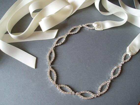 RHINESTONE DRESS SASH, Ivory Wedding Ribbon Cream Bridesmaid Bridal Belt satin - Ready to Ship