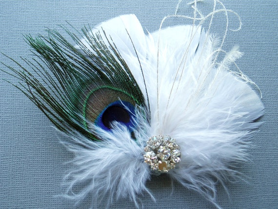 White Feather Bridal Hair Clip PEACOCK WEDDING FASCINATOR hairpiece accessories