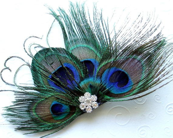 PRIORITY MAIL Peacock Feather Hair Clip Bridal Fascinator with Rhinestone Jewel formal dance prom - READY To Ship