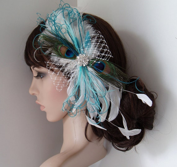 Hair Accessory Ivory Feather Bridal Clip PEACOCK WEDDING FASCINATOR turquoise with Rhinestone Jewel