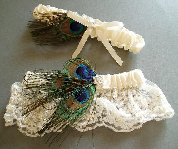 Garters Wedding: Peacock Garter Set Feather LACE GARTERS WEDDING Rhinestone