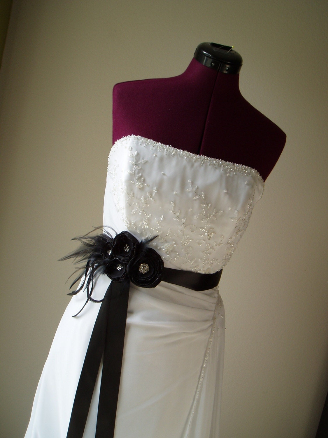 BLACK FLOWER SASH Wedding Dress Belt Bridal Feather Beaded