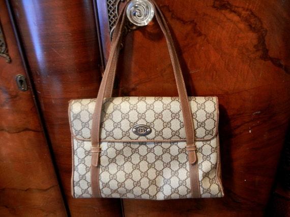 V I N T A G E - Authentic Gucci satchel handbag - brown GG logo coated canvas