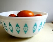 Vintage Milk Glass Mixing Bowl - White and Turquoise Blue