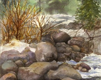 """Landscape, Water, Colorado, Rocks, Woods, Woodlands, Forest Floor, Brook, Snow, High-Quality Watercolor Giclee 16""""x 21"""" by Janet Dosenberry"""