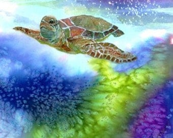Fine ArtWatercolor Giclee Print With Sea Turtle Swimming Underwater in Ocean Tropical Coastal Waters& Living Coral Reefs by Janet Dosenberry