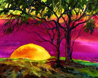 "Shanghai, Sunset, Magenta, Evening, Sun,Landscape,Colorful, Tree 10"" x 14 1/2""  Mixed Media Fine Art Print by Janet Dosenberry"