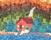 Quilted Wall Hanging - Cabin in the Woods Bargello