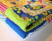 Strawberry Lemonade Baby Quilt or Toddler Quilt with Minkee back 47 x 60
