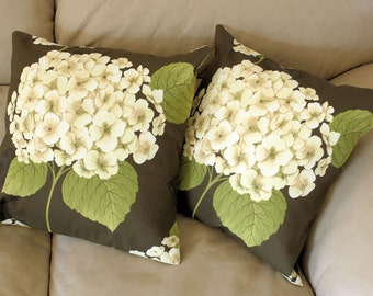 LAST TWO in this fabric - Hydrangea Flower Throw Pillows - John Wolf for Richloom in Brown and Ivory - 18 inches,