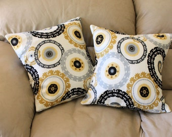 Modern Decorative Throw Pillow Cover - Mill Creek Suzani Style - Made to Order, Black, Silver Gray, Gold, 3 sizes available. B2-6
