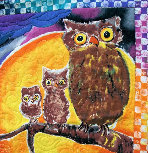 Halloween Wall Hanging Quilt Panel - Owls Scarecrow and Black Cat