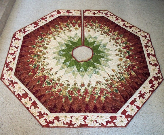 60 Inch Christmas Tree Skirt Quilt Diamonds By