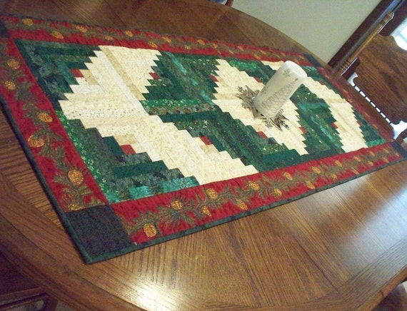 Large Log Cabin Christmas Table Runner 24 X By