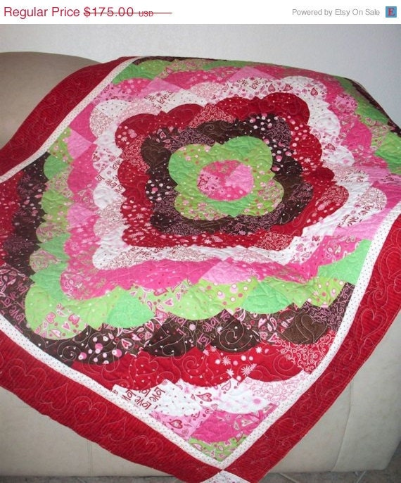 RESERVED for BETH  Large Lap Quilt - Peppermint Candies