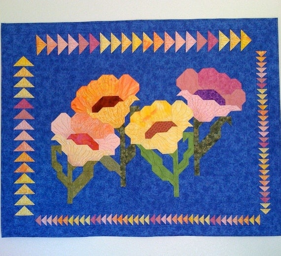 SALE! Large Wall Hanging Art Quilt - Dramatic Poppies, Blue, Pink, Yellow Flowers, Floral, Handmade Patchwork