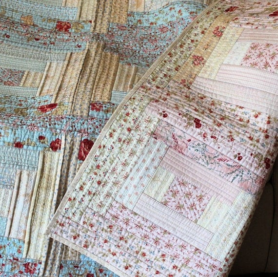 Shabby Chic Reversible Lap Quilt in Pink and Blue