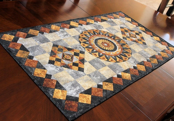 Stonehenge Table Runner Quilt in Rust, Gold, Gray and Black