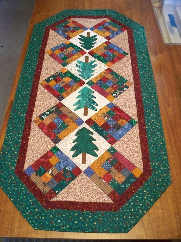Quilted Table Runner Pine Trees And Log By Quiltsewpieceful