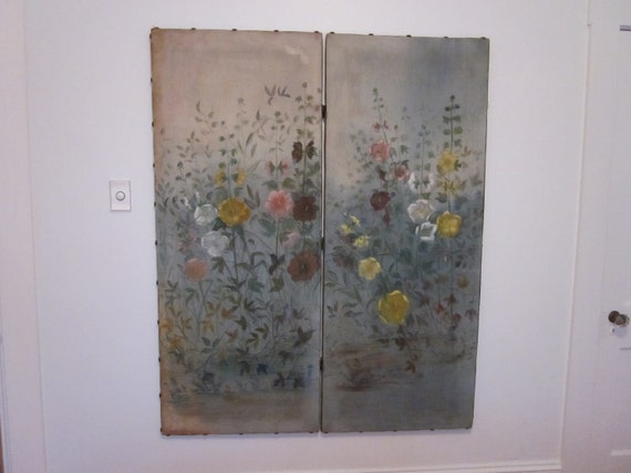 Antique oil painting hollyhock hand painted canvas room divider or screen
