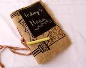 Burlap Journal, Repurposed Rice Bag Burlap Chalkboard Eco Friendly