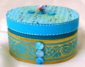 Turquoise Blue Decorative Jewelry Box Victorian Elegance