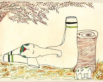Elephant Yoga, Hatha (i) Yoga, Yoga Art,Inverted Pose Viparita Karani, Elephant Art