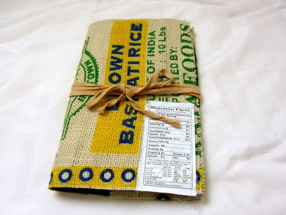 Burlap Journal Earth friendly Journal Rice Bag journal Eco friendly Journal