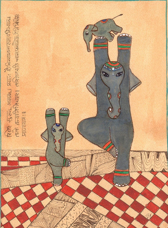 Yoga Art The Tree Pose or Vrikshasana Elephant Art