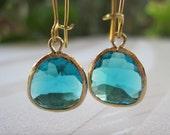 Gold Framed Blue Zircon Glass Stone Pendant Earrings