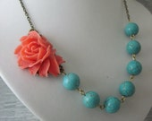 Coral Red Rose and Turquoise Necklace