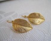 Matte Gold Plated Leaf Earrings
