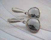 White Gold Framed Charcoal Glass Stone Pendant Earrings