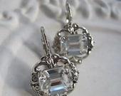 Bridal Earrings - Vintage Inspired Swarovski Crystal Earrings - Dark Silver