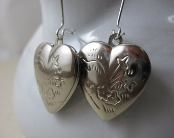 Heart Locket Earrings, Silver Heart Earrings